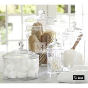 NEW! Pottery Barn Classic Glass Bath Canister M